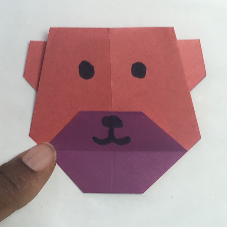 Origami bear face instructions | Step by step instructions how to ... | 750x750